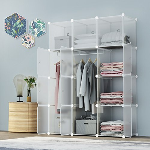 Open Cube Storage System (KOUSI Portable Closet Wardrobe Bedroom Armoire Storage Organizer with Doors, Capacious & Sturdy. 12 cube Transparent)