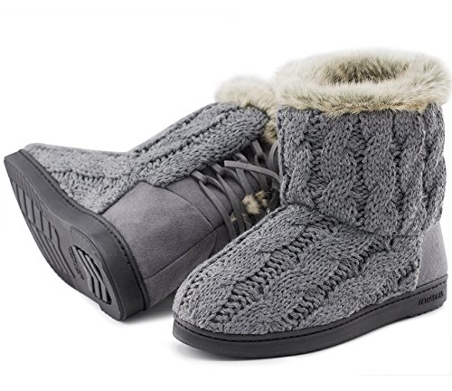 Women's Soft Yarn Cable Knit Bootie Slippers Memory Foam Indoor & Outdoor Shoes w/ Adjustable Suede Lace