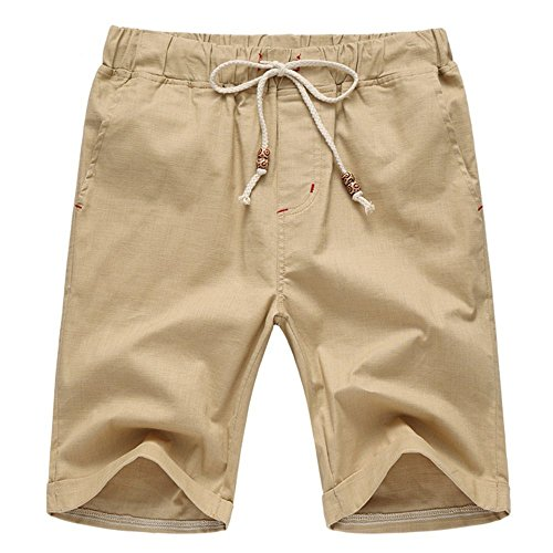 Aiyino Men's Linen Casual Classic Fit Short Summer Beach Shorts Medium Khaki