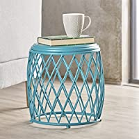Brassel Indoor 15 Inch Lattice Matte Teal Iron Side Table