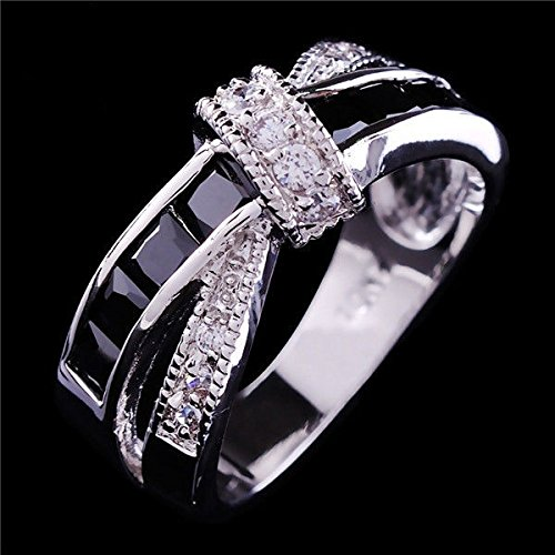 2016 Size 6-10 Black Sapphire Corssed CZ Wedding Rings Women's White Gold Filled Band