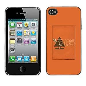 Caucho caso de Shell duro de la cubierta de accesorios de protección BY RAYDREAMMM - Apple iPhone 4 / 4S - Polygon Triangle Text Funny Orange