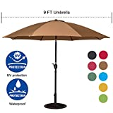 Cheap Sundale Outdoor 9 Feet Aluminum Market Umbrella Table Umbrella with Crank and Push Button Tilt for Patio, Garden, Deck, Backyard, Pool, 8 Fiberglass Ribs, 100% Polyester Canopy (Tan)