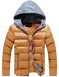 Lega Men's Thicken Coat Cotton Outwear Jacket with Removable Hood