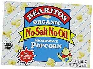 Bearitos Organic Microwave Popcorn, No Salt No Oil, 2.8oz - 3 Count (Pack of 12)