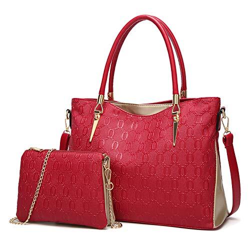 de bandoulière Dames Sac Sac Lot Sac 4 Cuir élégant rouge à Loisir à Rouge Main en 2 Mode vW11nY
