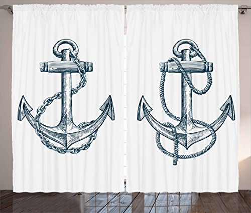 "Ambesonne Anchor Curtains, Vintage Sketch Nautical Element Ship Sailing Travel Theme Chain Rope, Living Room Bedroom Window Drapes 2 Panel Set, 108"" X 84"", Teal White"
