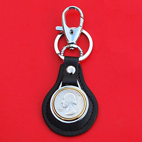 US 1936 Washington Quarter 90% Silver Coin Gold Silver Two Tone Leather Key Chain Ring NEW