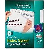 Index Maker Clear Label Unpunched 5-Tab Dividers, White, 5 Sets/Pack (AVELSK5U)