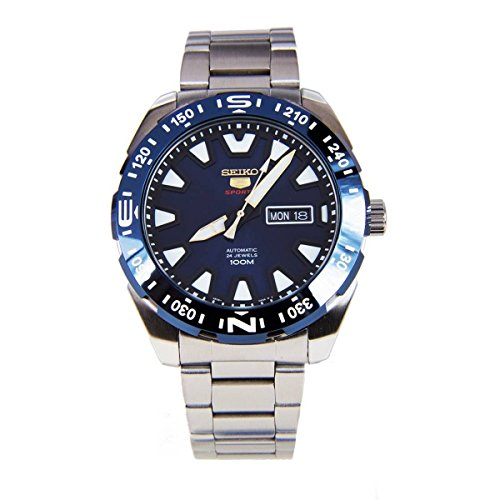 47 Men's Stainless Steel Blue Dial 100M Automatic Watch (5 Sports Automatic Blue Dial)