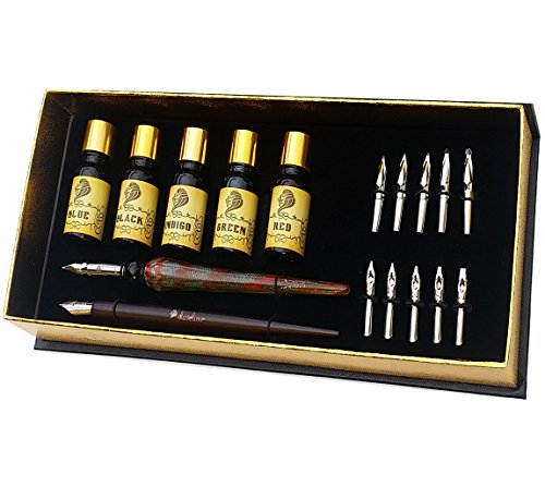 Daveliou Calligraphy Pen Set - 19-Piece Kit - FREE Glass Pen - 12 Nib & 5 Ink Set by Daveliou