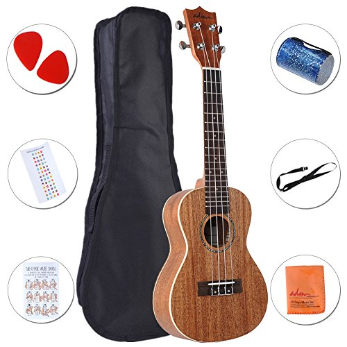 ADM Mahogany Concert Professional Ukulele Starter Pack with Gig Bag, Strap and Picks