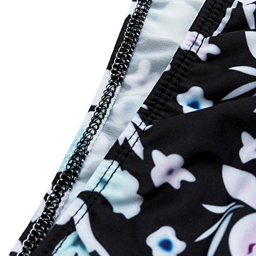 Juleya Set de Tankini para mujer Traje de baño de bikini con almohadilla traje de baño de playa Negro