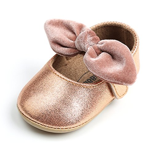 Z-T FUTURE Infant Baby Girls Shoes Cute Bow Diamonds Sparkly Mary Jane Crib Dress Princess Shoes (4.33 inch (0-6 Months), A-Rose ()