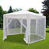Quictent 6.6'x6.6'x6.6' Garden Canopy Party Wedding Tent Gazebo with Nettings Mesh Sidewalls More Fresh Air