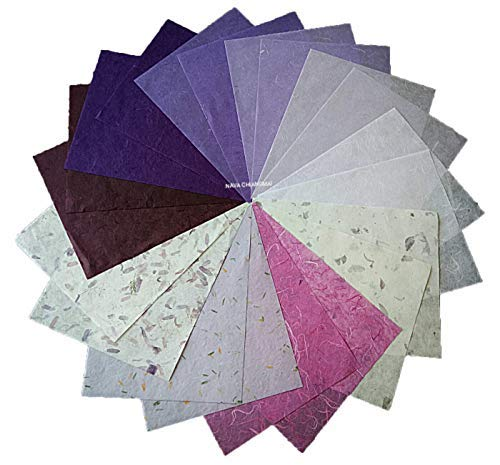 NAVA CHIANGMAI Thin Standard Color of Mulberry Paper Sheets Paper Decorative DIY Craft Scrapbook Wedding Decorative Mulberry Paper Art Tissue Japan (Mixed Purple)