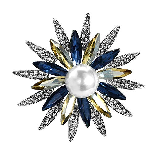 Pin Pearl Brooch - Mamfous Austrain Crystal Geometry Flower Brooch Pins with Simulated Pearl Bouquet Jewelry Accessories for Women (Silver)