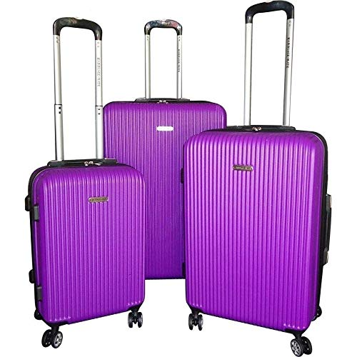 MISC 3 Piece Set Girls Purple Hardshell Luggage Lightweight Hardside 360 Spinners Wheel Stand Up Rolling Hardsided Solid Color Vertical Stripe Design