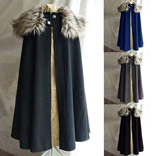 The Medieval Celtic Pirates Coat Cloak Winter Men and Women Kaross (L,Grey)