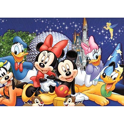 DIY 5D Diamond Painting by Numbers Kits for Adults,16X12 Cartoon Love Romantic Paintings Crystal Rhinestone Diamond Embroidery Full Drill Cross Stitch Kit Pictures Arts Craft,Disney Mouse Paradise