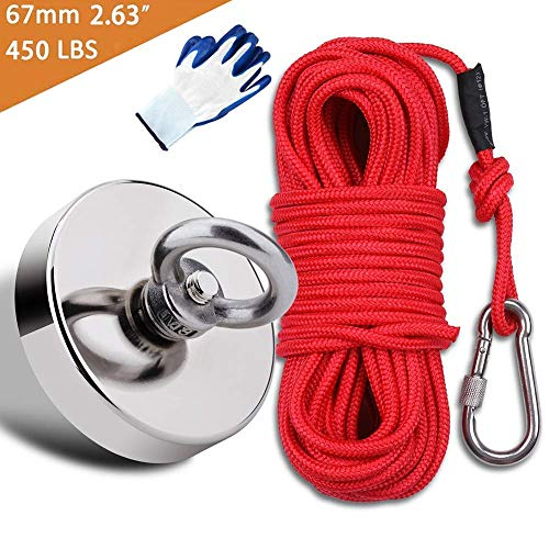 """EVISWIY Fishing Magnets Kit Dia. 67mm 2.63"""" 450LBS with Rope 64FT Carabiner Glove Large Strong Rare Earth Neodymium N52 Magnets for Magnet Fishing Treasure Hunting Underwater Retrieving"""