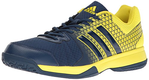 adidas Men's Ligra 4 Volleyball Shoes, Mystery Blue/Lemon Peel, ((4.5 M US)