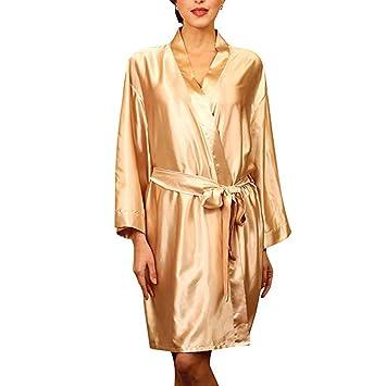 Forall-Ms Traje De Vestir De Kimono para Mujer, Bata De Seda Ropa De