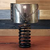 Truck Spring Table Lamp with Hand-Stitched Metal Shade by Rivet + Rust Review