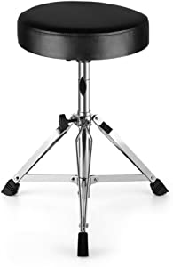 Flexzion Drum Throne - Drum Stool Padded Seat Height Adjustable Round Top Drum Chair With Sturdy Tripod Base, Anti-Slip Rubber Feet Foldable For Drummer, Percussion, Keyboard, Piano Players