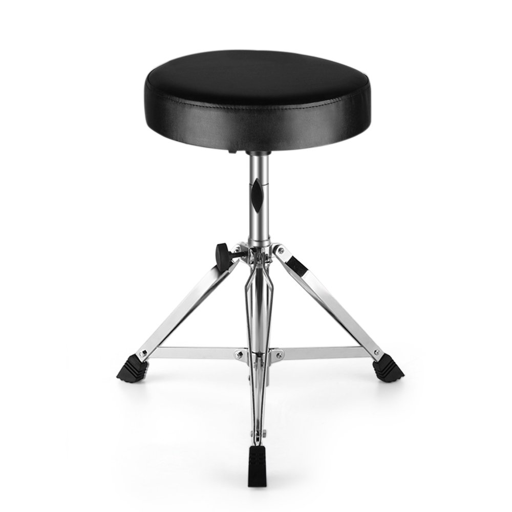 Flexzion Drum Throne - Drum Stool Padded Seat Height Adjustable Round Top Drum Chair With Sturdy Tripod Base, Anti-Slip Rubber Feet Foldable For Drummer, Percussion, Keyboard, Piano Players 4336350051