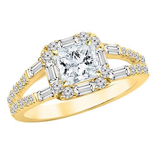 1.25 Ctw Princess Cut Baguette Round Halo Split Shank 14K Yellow Gold Diamond Engagement Ring (H-I Color SI2-I1 Clarity 0.75 Ct - Baguette 0.75 Ct Diamond