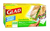 Glad Food Storage Bags, Zipper Sandwich, 200 Bags