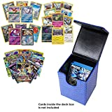 Playoly Pokemon Premium Collection Ultra Rare with 100 Pokemon Cards -Blue Dragonhide Deck Box