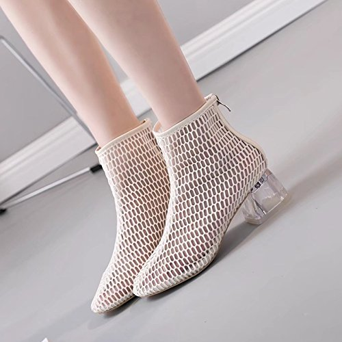 With Beige Sandals WL High zzf Heels Thick High Boots Cool Boots And New Hollow wOZ1OXx
