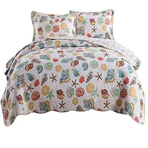 AMWAN Coral Ocean Theme Quilt Set Queen Soft Cotton Bedspread Set Full Seashell Starfish Print Kids Girls Quilt Coverlet Set for Boys Teens Reversible Patchwork Bedspread Set with 2 Pillow Shams