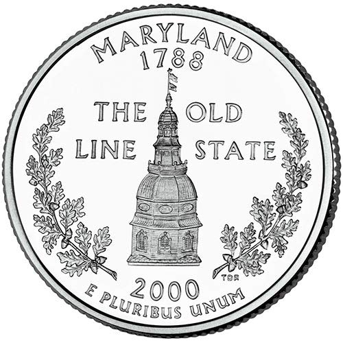 - 2000 S Silver Proof Maryland State Quarter Choice Uncirculated US Mint