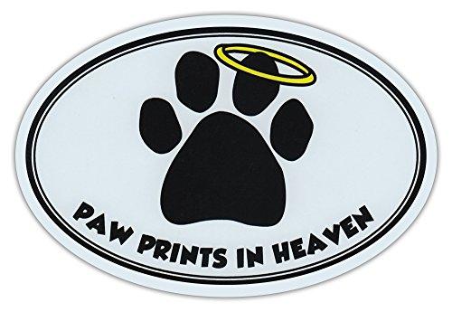 Oval Car Magnet - Paw Prints In Heaven - Dog/Pet Memorial - Magnetic Bumper Sticker