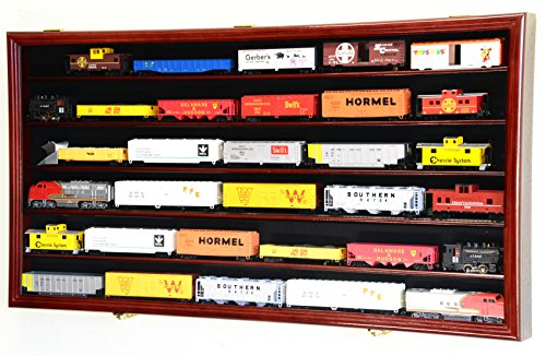 (HO Scale Train Display Case Cabinet Wall Rack w/ UV Protection- Lockable -Cherry)
