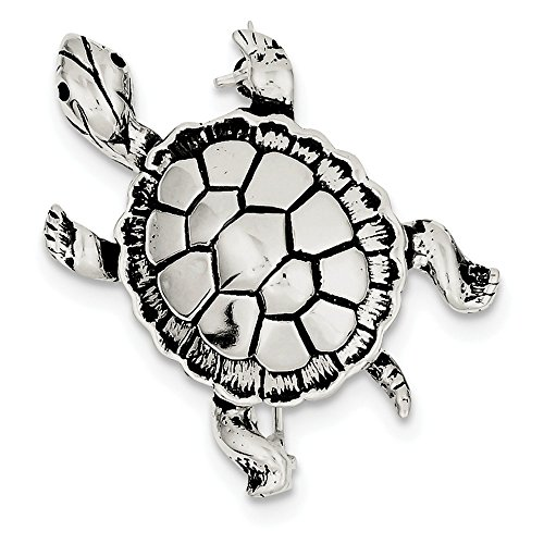 Sterling Silver Turtle Pin (Sterling Silver Antiqued Turtle Pin)