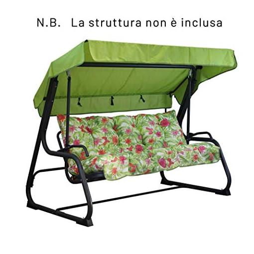 TECNOWEB Cuscini per Dondolo 3 Posti – Incluso nel Ricambio Anche Il tettuccio Coordinato – 100% Made in Italy – Ideale per Esterni (Giardini e Cortili) – Telaio Non Incluso