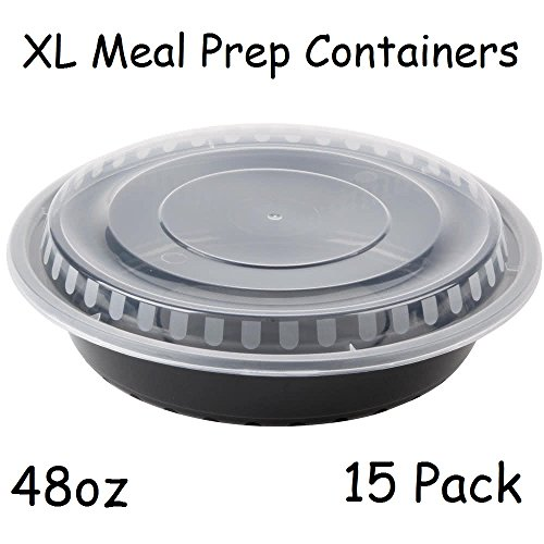 9' XL Meal Prep Diet Containers W/ Lids 48oz Microwaveable Food Salad Storage Container 15pack