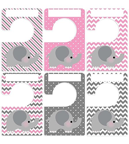 Closet Doodles 6 baby clothing dividers elephants gray pink any size Plus 48 Sorting Labels