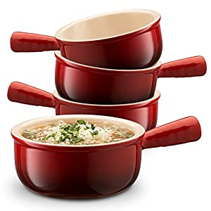 KooK Ceramic French Onion Soup Bowls With Handles, 16 Ounce - Set of 4 by KooK
