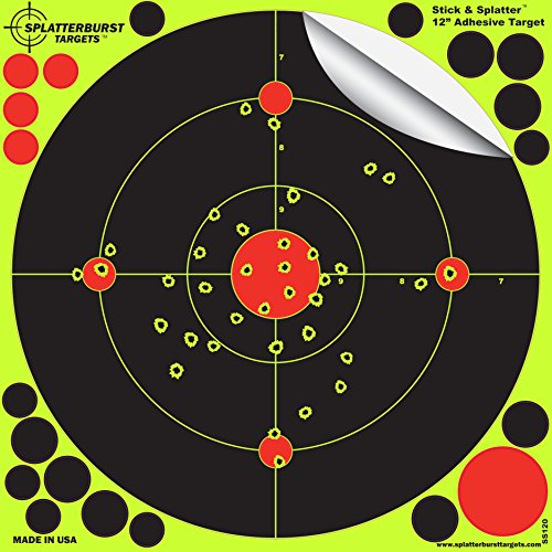Splatterburst Targets -12 inch 'Stick & Splatter' Reactive Self Adhesive Shooting Targets - Gun - Rifle - Pistol - AirSoft - BB Gun - Pellet Gun - Air Rifle