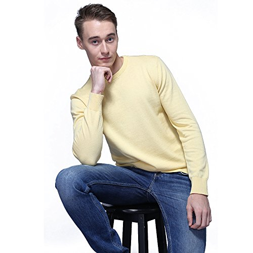 FASHIONMIA Mens Casual Solid Slim Fit Sweater Pullover Yellow M by FASHIONMIA (Image #2)