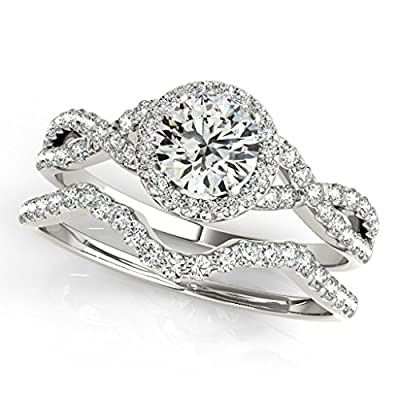 0.50 Carat Halo Daimond Engagement Bridal Ring Set 14K Solid White Gold