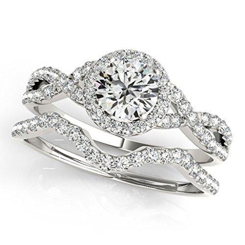 050-Carat-Halo-Daimond-Engagement-Bridal-Ring-Set-14K-Solid-White-Gold