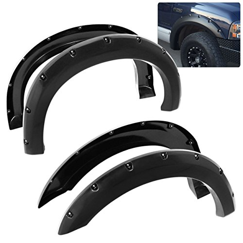 Ford F-250 F-350 Super Duty ABS Pocket Rivet Style Wheel Well Wide Body Fender Flares Trim (2000 Ford F250 Fender Flares compare prices)