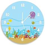 Kids Wall Clock, Ocean Theme Children Room Art, Life Under the Sea Wall Clock for Kids,