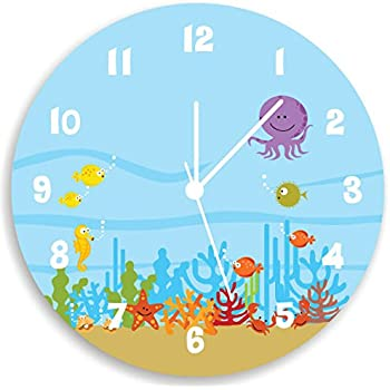 Amazoncom kids wall clock ocean theme children room art for Wall clock images for kids